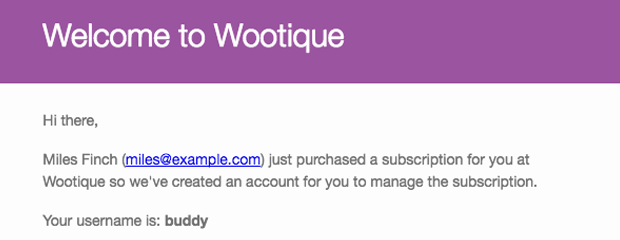 Aplicativo Assinaturas para Presentear WooCommerce gifted subscription welcome email